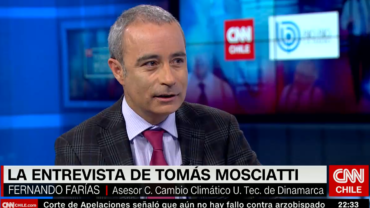 Senior advisor Dr Fernando Farias talks about climate change and the dire consequences we all face on CNN Chile. Photo: Screendump